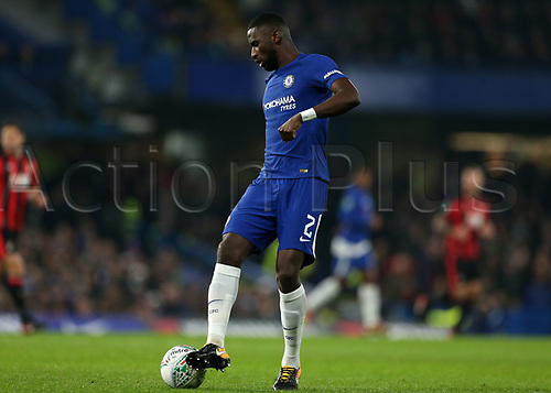 20th December 2017, Stamford Bridge, London, England; Carabao Cup quarter final, Chelsea versus Bournemouth; Antonio Rudiger of Chelsea on the ball