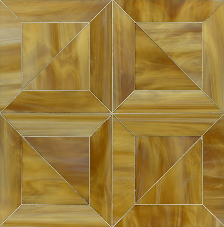 Truman, a Jewel Glass waterjet mosaic shown in Tiger's Eye, is part of the Parquet Line by New Ravenna.