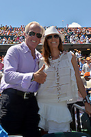 KEY BISCAYNE, FL - APRIL 05: Golfer Greg Norman and wife Kirsten Kutner watch Novak Djokovic of Serbia defeat Andy Murray of Great Britain in the mens final during the Miami Open at Crandon Park Tennis Center on April 5, 2015 in Key Biscayne, Florida.<br /> <br /> <br /> People:  Greg Norman, Kirsten Kutner<br /> <br /> Transmission Ref:  FLXX<br /> <br /> Must call if interested<br /> Michael Storms<br /> Storms Media Group Inc.<br /> 305-632-3400 - Cell<br /> 305-513-5783 - Fax<br /> MikeStorm@aol.com
