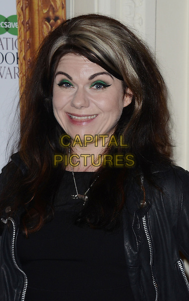 Caitlin Moran.The Specsavers National Book Awards 2012 at the Mandarin Oriental Hotel, Knightsbride, London, England..4th December 2012  .headshot portrait black leather dyed blonde streak hair green eyeshadow make-up.CAP/WIZ.© Wizard/Capital Pictures.