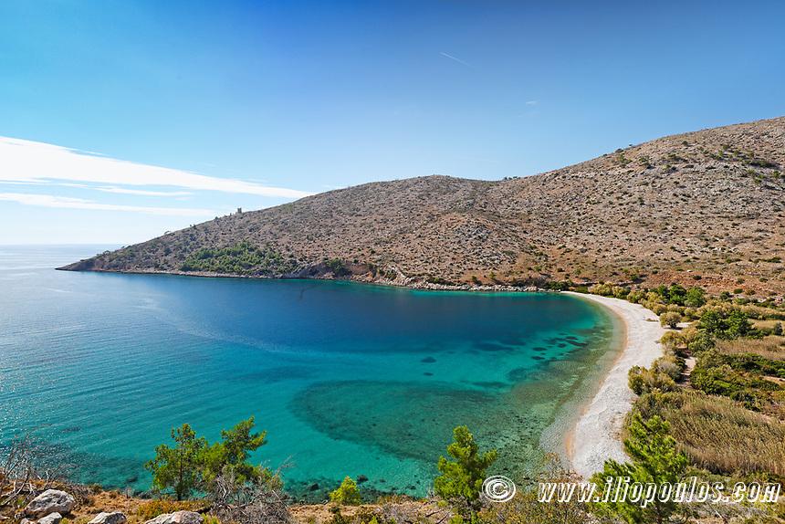 The beach Elinda in Chios island, Greece