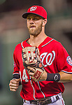 22 August 2015: Washington Nationals outfielder Bryce Harper returns to the dugout during a game against the Milwaukee Brewers at Nationals Park in Washington, DC. The Nationals defeated the Brewers 6-1 in the second game of their 3-game weekend series. Mandatory Credit: Ed Wolfstein Photo *** RAW (NEF) Image File Available ***