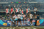 Fiji players celebrate with the trophy on the podium after winning the HSBC Sevens World Cup Final match against New Zealand as part of the Cathay Pacific / HSBC Hong Kong Sevens at the Hong Kong Stadium on 29 March 2015 in Hong Kong, China. Photo by Victor Fraile / Power Sport Images