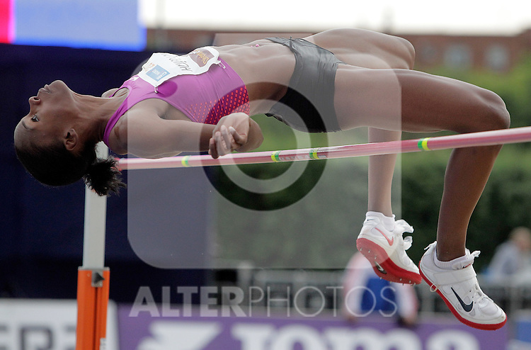 United State's Chaunte Howard-Lowe jumps during Madrid 2010 meeting. July 02, 2010. (ALTERPHOTOS/Alvaro Hernandez)