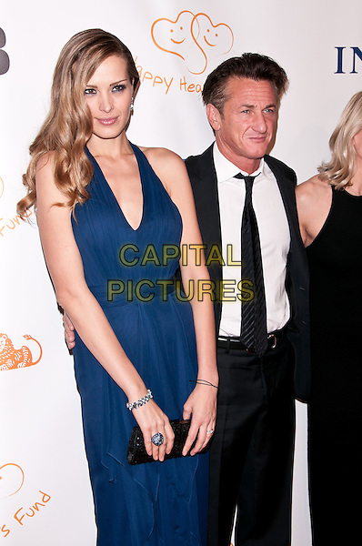 Petra Nemcova & Sean Penn.2011 Happy Hearts Fund: Land Of Dreams, Haiti, New York City, NY, USA..November 5th, 2011.full length dress blue halterneck black clutch bag suit white shirt tie .CAP/ADM/CS.©Christopher Smith/AdMedia/Capital Pictures.