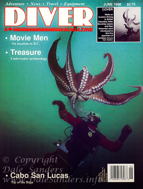 DIVER Magazine Cover 1990 -  featuring Mike Richmond and a Giant Pacific Octopus.