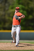 Pitcher Mike Wright (21) of the Baltimore Orioles organization during a minor league spring training camp day game on March 23, 2014 at Buck O'Neil Complex in Sarasota, Florida.  (Mike Janes/Four Seam Images)