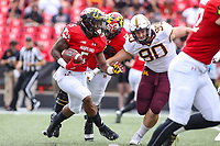 College Park, MD - September 22, 2018:  Maryland Terrapins running back Anthony McFarland (5) runs the ball during the game between Minnesota and Maryland at  Capital One Field at Maryland Stadium in College Park, MD.  (Photo by Elliott Brown/Media Images International)