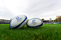 A general view of Heineken Champions Cup branded balls. Heineken Champions Cup match, between Bath Rugby and Stade Toulousain on October 13, 2018 at the Recreation Ground in Bath, England. Photo by: Patrick Khachfe / Onside Images