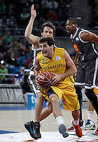 Herbalife Gran Canaria's Tomas Bellas (r) and Uxue Bilbao Basket's Raul Lopez during Spanish Basketball King's Cup match.February 07,2013. (ALTERPHOTOS/Acero)