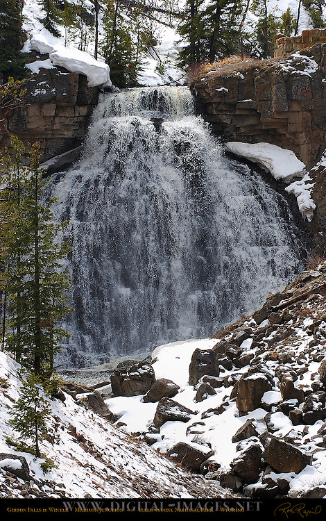 Gibbon Falls in Winter, Madison Junction, Yellowstone National Park, Wyoming