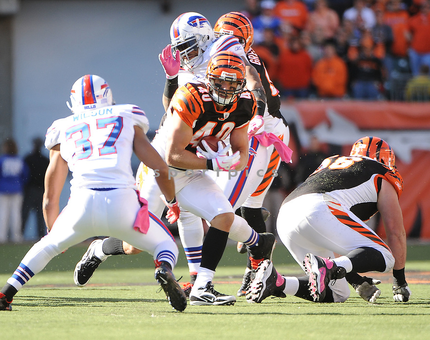 BRIAN LEONARD, of the Cincinnati Bengals in action during the Bengals game against the Buffalo Bills on October 2, 2011 at Paul Brown Stadium in Cincinnati, OH. The Bengals beat the Bills 23-20.
