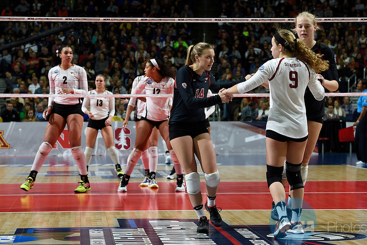 COLUMBUS, OH - DECEMBER 17:  Halland McKenna (14) and Morgan Hentz (9) of Stanford University talk things over against the University of Texas during the Division I Women's Volleyball Championship held at Nationwide Arena on December 17, 2016 in Columbus, Ohio.  Stanford defeated Texas 3-1 to win the national title. (Photo by Jamie Schwaberow/NCAA Photos via Getty Images)