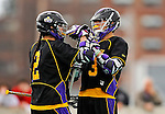 10 April 2011: University at Albany Great Dane attacker Ty Thompson (3), a Freshman from Hogansburg, NY, celebrates a goal with attacker Miles Thompson (2), a Freshman from Nedrow, NY, during a game against the University of Vermont Catamounts on Moulton Winder Field in Burlington, Vermont. The Catamounts defeated the visiting Danes 11-6 in America East play. Mandatory Credit: Ed Wolfstein Photo