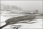 Vashon Washington:<br /> Winter snow storm with patterns at low tide on Tramp Harbor