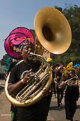 28 September 2008, Hackney/London, Hackney Carnival. Man with Sousaphone. (Bettina Strenske)