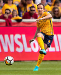 Utah Royals FC defender Rachel Corsie (2) in the second half Saturday, April 14, 2018, during the National Woman Soccer League game at Rio Tiinto Stadium in Sandy, Utah. (© 2018 Douglas C. Pizac)