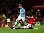 Victor Lindelof of Manchester United tackles Kevin De Bruyne of Manchester City during the Carabao Cup match at Old Trafford, Manchester. Picture date: 7th January 2020. Picture credit should read: Darren Staples/Sportimage