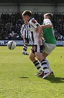 Paul McGowan shields from Lewis Stevenson in the St Mirren v Hibernian Clydesdale Bank Scottish Premier League match played at St Mirren Park, Paisley on 29.4.12.