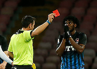red card for Franck Kessie  during the  italian serie a soccer match,between SSC Napoli and Atalanta      at  the San  Paolo   stadium in Naples  Italy , February 26, 2017
