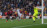 Bournemouth's Nathan Ake (left) battles with Wolverhampton Wanderers' Romain Saiss (right) as Ake defends to clear the ball away from the goal<br /> <br /> Photographer David Horton/CameraSport<br /> <br /> The Premier League - Bournemouth v Wolverhampton Wanderers - Saturday 23 February 2019 - Vitality Stadium - Bournemouth<br /> <br /> World Copyright © 2019 CameraSport. All rights reserved. 43 Linden Ave. Countesthorpe. Leicester. England. LE8 5PG - Tel: +44 (0) 116 277 4147 - admin@camerasport.com - www.camerasport.com