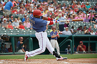 Frisco RoughRiders Elvis Andrus (1) bats during a Texas League game against the Midland RockHounds on May 22, 2019 at Dr Pepper Ballpark in Frisco, Texas.  (Mike Augustin/Four Seam Images)