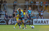Sam Saunders of Wycombe Wanderers & Andy Barcham of AFC Wimbledon during the Friendly match between Wycombe Wanderers and AFC Wimbledon at Adams Park, High Wycombe, England on 25 July 2017. Photo by Andy Rowland.