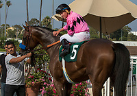 CYPRESS, CA. JULY 15:#5 West Coast ridden by Drayden Van Dyke in the winners circle after winning the Los Alamitos Derby (Grade lll) on July 15, 2017, at Los Alamitos Race Course in Cypress, CA.  (Photo by Casey Phillips/Eclipse Sportswire/Getty Images)