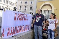 Roma 16 Luglio 2012.Piazza Montecitorio.I precari e le precarie della scuola pubblica protestano contro i tagli e la privatizzazione