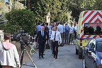 "Pictured: Detective Inspector Jon Cousins, from South Yorkshire Police (L) with a colleague in Kos, Greece. Monday 26 September 2016<br /> Re: Police teams searching for missing toddler Ben Needham on the Greek island of Kos have said they are ""optimistic"" about new excavation work.<br /> Ben, from Sheffield, was 21 months old when he disappeared on 24 July 1991 during a family holiday.<br /> Digging has begun at a new site after a fresh line of inquiry suggested he could have been crushed by a digger.<br /> South Yorkshire Police (SYP) said it continued to keep an ""open mind"" about what happened to Ben."