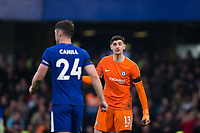 Chelsea's Thibaut Courtois shouts at team mate Gary Cahill <br /> <br /> Photographer Craig Mercer/CameraSport<br /> <br /> The Premier League - Chelsea v West Ham United - Sunday 8th April 2018 - Stamford Bridge - London<br /> <br /> World Copyright &copy; 2018 CameraSport. All rights reserved. 43 Linden Ave. Countesthorpe. Leicester. England. LE8 5PG - Tel: +44 (0) 116 277 4147 - admin@camerasport.com - www.camerasport.com