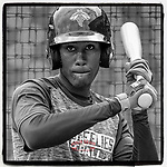 No. 2 MLB.com New York #Mets prospect Ronny Mauricio (2) of the Columbia Fireflies works on a drill during batting practice before a game at Segra Park in Columbia, South Carolina. (Tom Priddy/Four Seam Images)