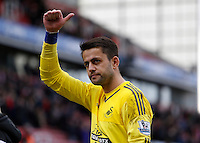 Swansea City's Lukasz Fabianski celebrates at the final whistle during the Barclays Premier League match between Stoke City and Swansea City played at Britannia Stadium, Stoke on April 2nd 2016