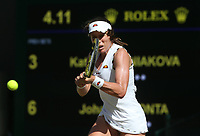 Johanna Konta (GBR) during her match against Katerina Siniakova (CZE) in their Ladies' Singles Second Round match<br /> <br /> Photographer Rob Newell/CameraSport<br /> <br /> Wimbledon Lawn Tennis Championships - Day 4 - Thursday 4th July 2019 -  All England Lawn Tennis and Croquet Club - Wimbledon - London - England<br /> <br /> World Copyright © 2019 CameraSport. All rights reserved. 43 Linden Ave. Countesthorpe. Leicester. England. LE8 5PG - Tel: +44 (0) 116 277 4147 - admin@camerasport.com - www.camerasport.com