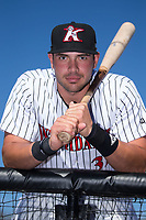 Kannapolis Intimidators first baseman Brandon Dulin (31) poses for a photo prior to the game against the Lakewood BlueClaws at Kannapolis Intimidators Stadium on April 9, 2017 in Kannapolis, North Carolina.  The BlueClaws defeated the Intimidators 7-1.  (Brian Westerholt/Four Seam Images)