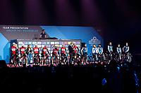 Both the Men's & Women's Team Trek Segafredo are presented to the crowd simultaneously at the pre-race team presentation in the legendary Kuipke <br /> <br /> 74th Omloop Het Nieuwsblad 2019 (BEL)<br /> Gent – Ninove: 200km<br /> ©kramon