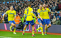 Leeds United's Pontus Jansson celebrates scoring his side's equalising goal with Luke Ayling, Kemar Roofe and Kalvin Phillips<br /> <br /> Photographer Alex Dodd/CameraSport<br /> <br /> The EFL Sky Bet Championship - Aston Villa v Leeds United - Sunday 23rd December 2018 - Villa Park - Birmingham<br /> <br /> World Copyright &copy; 2018 CameraSport. All rights reserved. 43 Linden Ave. Countesthorpe. Leicester. England. LE8 5PG - Tel: +44 (0) 116 277 4147 - admin@camerasport.com - www.camerasport.com