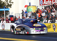 Feb 9, 2014; Pomona, CA, USA; NHRA pro stock driver Vincent Nobile during the Winternationals at Auto Club Raceway at Pomona. Mandatory Credit: Mark J. Rebilas-