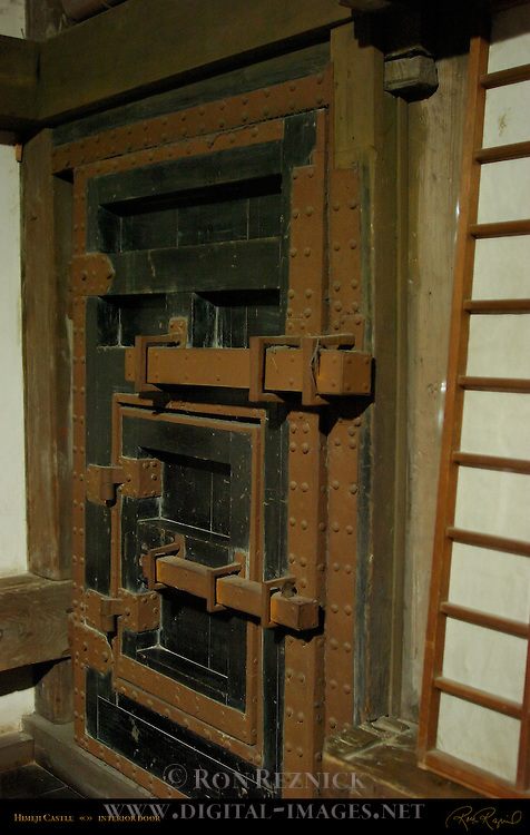 Himeji Castle first floor interior reinforced door detail Shirasagi-jo White Heron Castle Himeji Japan