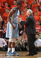 North Carolina head coach Roy Williams talks with North Carolina forward Joel James (42) during an NCAA basketball game Monday Jan. 20, 2014 in Charlottesville, VA. Virginia defeated North Carolina 76-61.