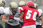 Redondo Beach, CA 10/14/10 - Nathaniel Troup (Peninsula #57) in action during the Peninsula vs Redondo Junior Varsity football game at Redondo Union HIgh School.