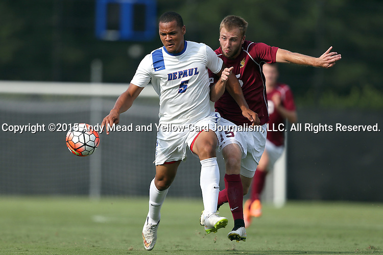 28 August 2015: DePaul's Jalen Harvey (BER) (5) and Elon's Cooper Vandermaas-Peeler (15). The Elon University Phoenix played the DePaul University Blue Demons at Koskinen Stadium in Durham, NC in a 2015 NCAA Division I Men's Soccer match. Elon won the game 4-0.
