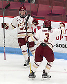 Makenna Newkirk (BC - 19), Serena Sommerfield (BC - 3) -  The Boston College Eagles defeated the University of Vermont Catamounts 4-3 in double overtime in their Hockey East semi-final on Saturday, March 4, 2017, at Walter Brown Arena in Boston, Massachusetts.
