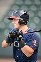 Designated hitter Garrison Schwartz (4) of the Rome Braves takes batting practice before a game against the Greenville Drive on Saturday, April 14, 2018, at Fluor Field at the West End in Greenville, South Carolina. Rome won, 4-0. (Tom Priddy/Four Seam Images)