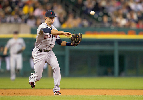 September 27, 2011:  Cleveland Indians third baseman Lonnie Chisenhall (#27) throws the ball to first base during MLB game action between the Cleveland Indians and the Detroit Tigers at Comerica Park in Detroit, Michigan.  The Tigers defeated the Indians 9-6.