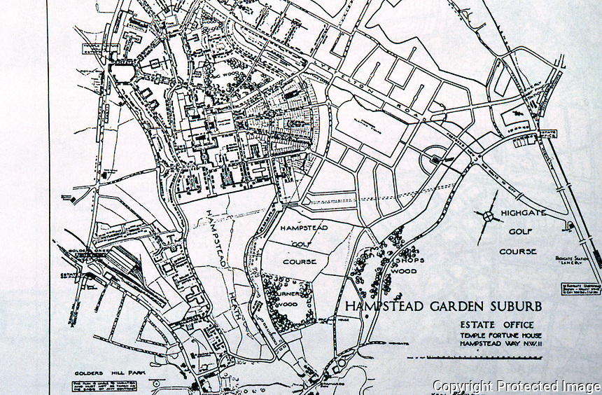London: Hampstead Garden Suburb--Map. Jonathan Barnett, The Elusive City; The Cul de Sac, an innovation of Parker  & Unwin. Reference only.