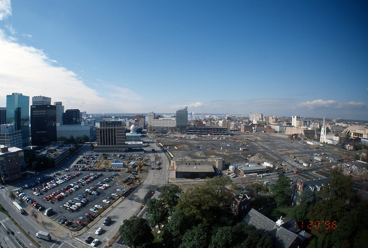 1996 November 20..Redevelopment..Macarthur Center.Downtown North (R-8)..LOOKING WEST .CITY HALL AVENUE ON LEFT.SUPERWIDE...NEG#.NRHA#..