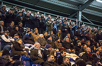 Wycombe supporters during the Sky Bet League 2 match between Colchester United and Wycombe Wanderers at the Weston Homes Community Stadium, Colchester, England on 21 February 2017. Photo by Andy Rowland / PRiME Media Images.
