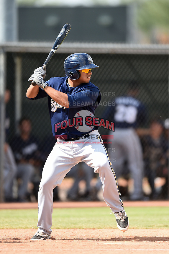 Milwaukee Brewers second baseman Chris McFarland (55) during an Instructional League game against the Los Angeles Angels of Anaheim on October 9, 2014 at Tempe Diablo Stadium Complex in Tempe, Arizona.  (Mike Janes/Four Seam Images)