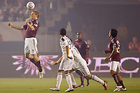 Colorado Rapids midfielder Jeff Larentowicz clears leaps high to clear a ball early in the match. The Colorado Rapids defeated the LA Galaxy 3-2 at Home Depot Center stadium in Carson, California on Saturday October 16, 2010.